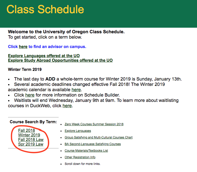 screenshot of the class schedule page